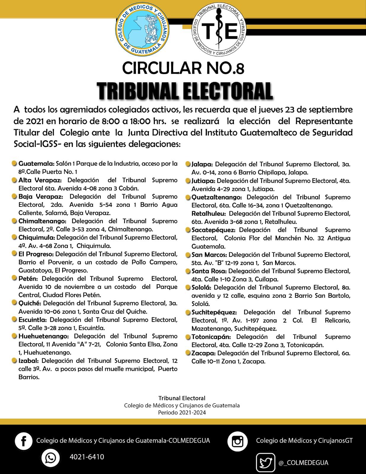 Circular No.8 Tribunal Electoral.