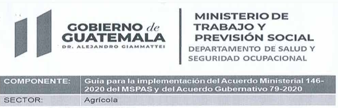 Acuerdo Gubernativo 79-2020 Sector Agrícola