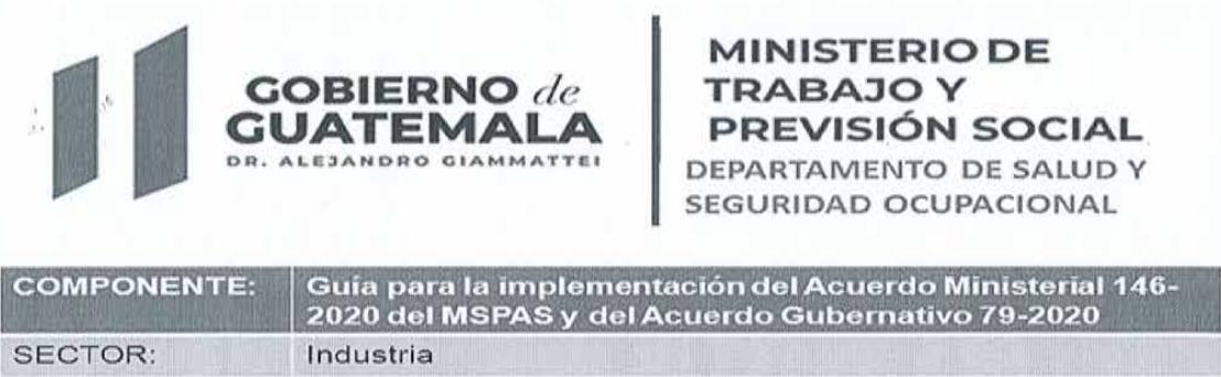 Acuerdo Gubernativo 79-2020 Sector Industria